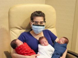 Texas mother with her newborn triplets after beating coronavirus